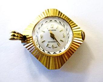 SaLe! Fancy Vintage WALDMAN Gold Diamond Sunburst Pocket Watch Pendant, (WORKS) from Real Watch Parts, For Steampunk Art Jewelry 3E212