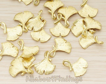 PDT1071-RB // Raw brass Ginkgo Leaf Pendant, 2 Pc