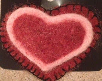 Needle Felted Heart Pin, Felted Wool Lapel Pin, Red and Pink, Felted Brooch