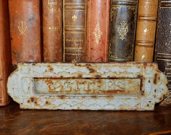 Antique French Painted Letter Box Slot Hardware Cast Iron Mailbox Lettre Drop Shabby Chic
