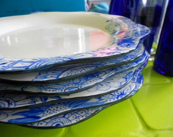 flat plates in porcelain blue abstract flowers opal and blue lapis