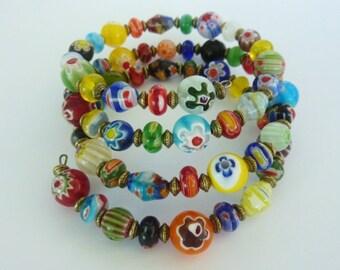 Womans Handmade Boho Style Multi Colour Millefiori Bead Memory Wire Cuff Bracelet