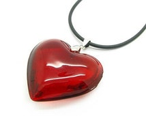 "Large Red Glass Puff Heart Pendant Charm Necklace Black Leather Cord 19"" Long"
