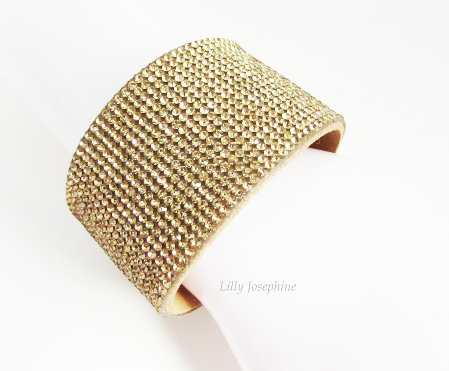 sparkly gold rhinestone cuff bracelet gold leather bangle
