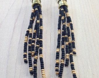 Black and Gold Earrings, Long Earrings, Seed Bead Earrings, Long Fringe Earrings, Tassel Earrings, Boho Earrings,