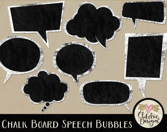 Chalkboard Clipart - Chalkboard Speech Bubbles Frame Clip Art - Digital Scrapbook Clipart Chalk Board Label Embellishments, Digital Labels