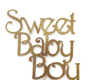 Sweet Baby Boy Cake Topper, Gold Glitter Boy Baby Shower Cake Topper, Decorations