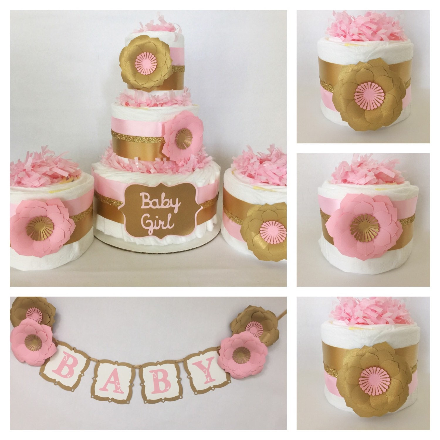 Pink and gold baby shower party package pink and by for Baby shower decoration packages