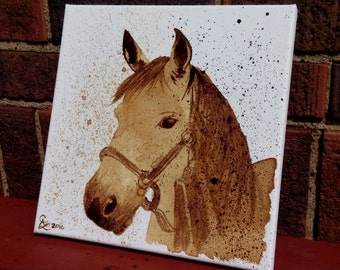 Horse - Coffee on Canvas 8x8""