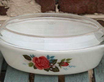 Pyrex Cottage Rose Design Cassserole Dish with Original Lid.  English Heat Resistant Glass 1960's Hard to Find Kitchen Collectable