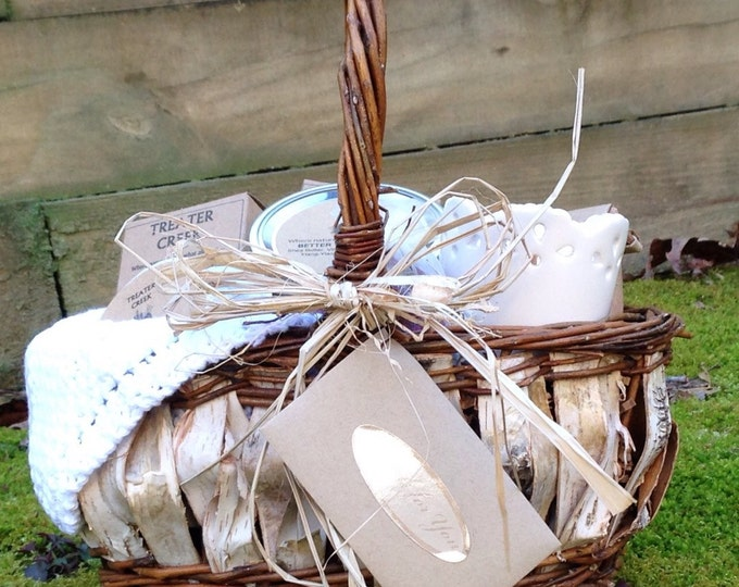 Spa Birch Wood Gift Basket