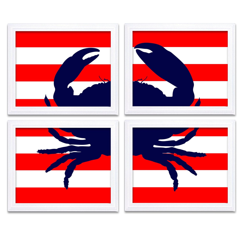 Navy Blue Red Crab Nautical Nursery Art Set of 4 Prints Stripes Child Art Kids Room Wall Decor Baby