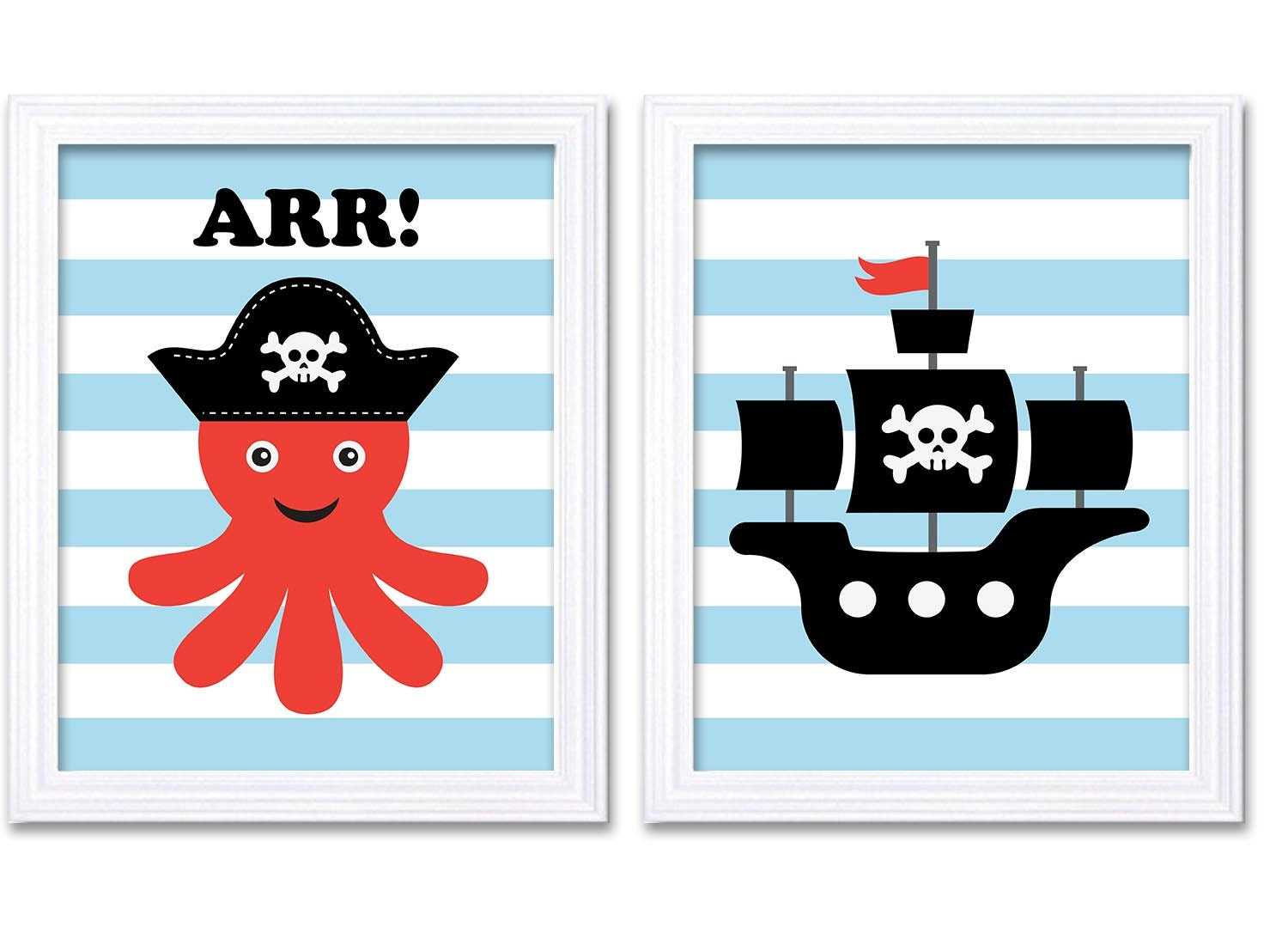 Pirate Nursery Art Set of 2 Prints Nautial Nursery Octopus Ship Sky Blue Red Black White Grey Boy Ch