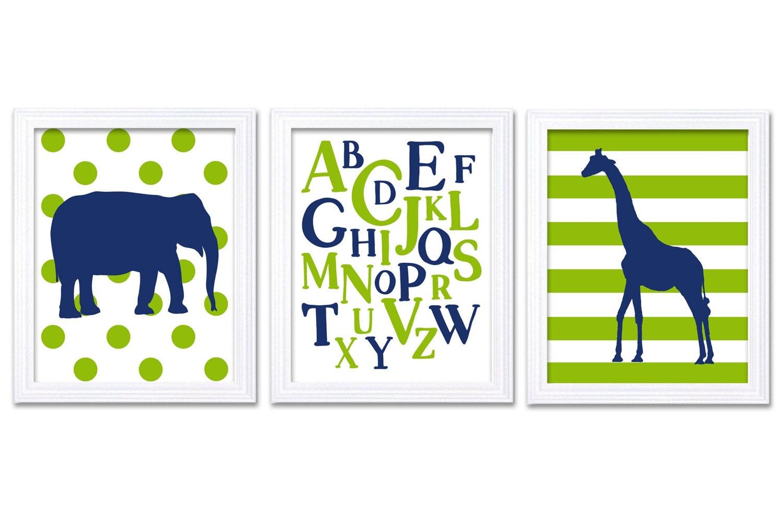 Giraffe Elephant Alphabet LOVE Nursery Art Nursery Print Set of 3 Stripes Polka Dots Navy Blue Lime