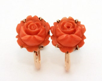 18k Coral Earrings, Carved Coral Roses, Salmon Coral Earrings, Vintage Coral, 18k Screw Earrings, Genuine Coral, Real Carved Coral Flowers