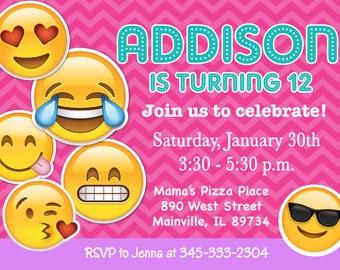 Emoji, Emojicon, Teen, Tween, Birthday Party Invitation - Printable, Digital
