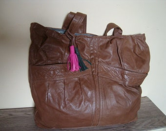light brown leather bag/// recycled leather bag