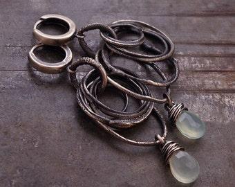 blue chalcedony  circle earrings • raw silver dangle drop earrings • sterling silver 925 • windchime earrings • swingyearrings