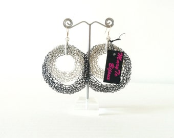 Crochet two-tone double hoop earrings