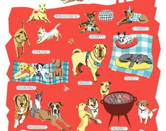 Top Dog Series-Shelter Dogs-8x10 print-dogs-pets-pet portraits-red-grey-home decor-dog welfare-dog adoption-dog rescue