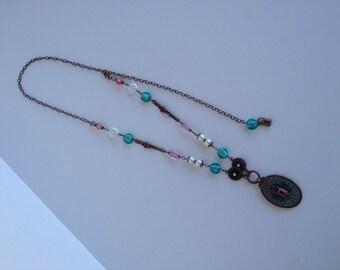 Vintage Look Antique Copper, Glass Pendant Necklace