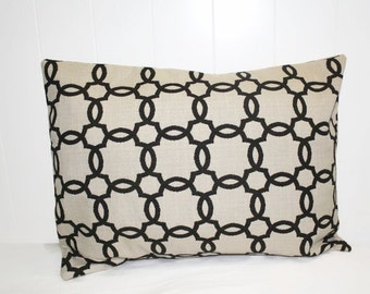 Decorative Indoor  12x16, Linen and Black Home Decor Pillow, Throw Pillow