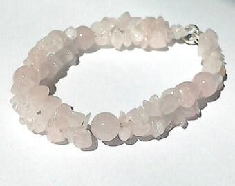 Rose Quartz Handmade Gemstone Crystal Helix Bracelet
