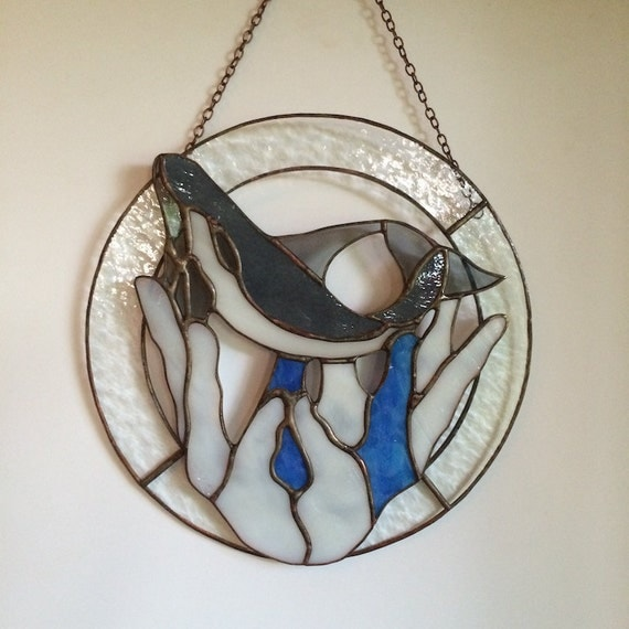 Whales Stained Glass Panel Hanging Art with a Message Made in Hawaii Deesigns by Harris Free Gift Wrap