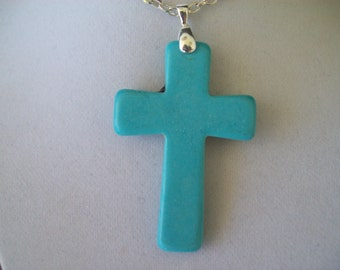 "Howlite Turquoise Cross Pendant with chain 2"" long"