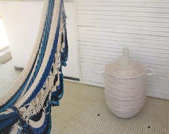 Large white laundry basket, Classic Hamper, Elegant Home Decor, Ready to be shipped