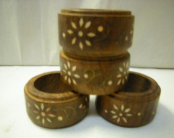 4 napkins rings-wood rings-carved rings-dining and kitchen-art-crafts-upcycle-traditional