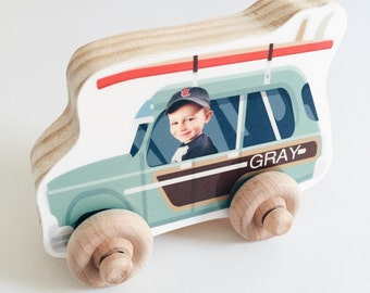 Personalized Photo Wood Car, Personalized Birthday Boy Girl Gift, Wooden Push Toy, Kid's Toddler Preschool Vehicle, Christmas, Surfer