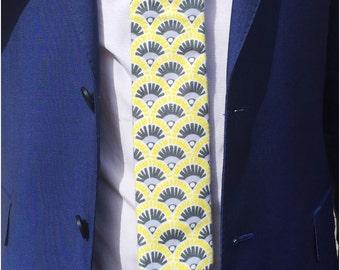 The Hildreth Super Skinny Tie in Brushed Cotton / Wedding Tie / Groomsman Tie / Mens Cotton Tie / Yellow Tie/ Skinny Tie