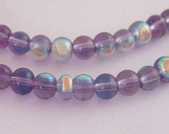 "Glass Bead Strands, AB Color Plating, Round, Violet, about 4mm in diameter, hole: 1mm; about 80pcs/strand, 13"" #055"