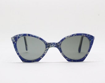 cat eye sunglasses, 50s glasses, original vintage eyewear, blue and glitter frame, retro eyeglasses