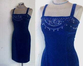 "Blue bayou 1950s velvet wiggle dress bust 33"" w/ beaded bodice"