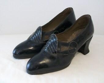 Gorgeous 1930s art deco day shoes US 5 UK 3 w/cutouts