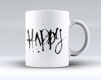 Happy Splatter-ink Fuzed Ceramic Coffee Mug or Tea Cup