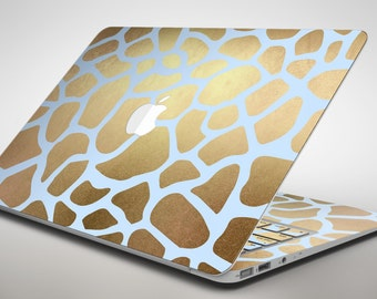 Gold Flaked Animal Light Blue - Apple MacBook Air or Pro Skin Decal Kit (All Versions Available)