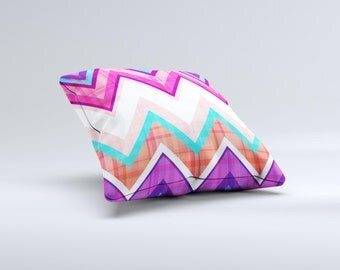 Vibrant Pink & Blue Chevron Pattern ink-Fuzed Decorative Throw Pillow