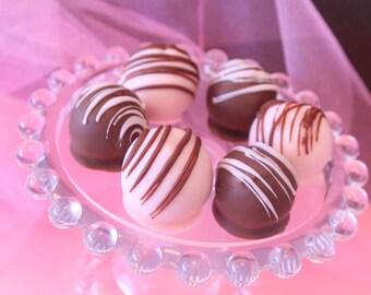 Gourmet Strawberry Cake Bites, White Chocolate Cake Balls, Hand Dipped Treats