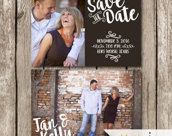 5x7 Two Sided Photo Save the Date - Save the Date Card - Front and Back Save the Date - Save the Date with Two Photos