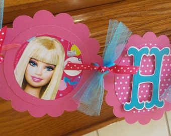 Barbie Banner, Barbie Birthday Banner. Hot Pink Turquoise Barbie Banner and Decorations Photo Prop