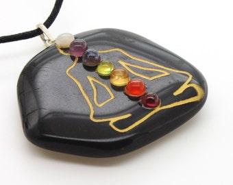 Natural Black Stone Balance Energy Medallion