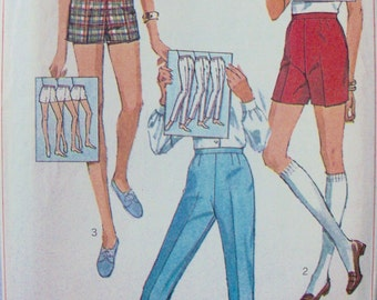 Vintage 1968 Pants and Shorts Pattern Simplicity 7688 Waist 25.5