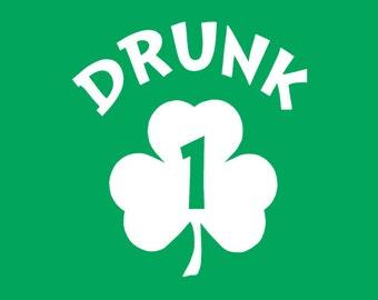 DRUNK 1 tshirt funny drinking beer home brewing drunk 1 drunk 2 tshirt irish punk (also available on crewneck sweatshirts and hoodies SM-5XL