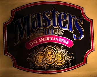1985 Masters lll Fine American Mirrored Beer Bar Sign