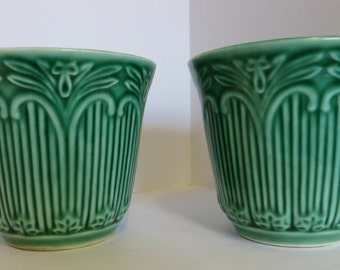 Pair of Beautiful green ornate custard cups