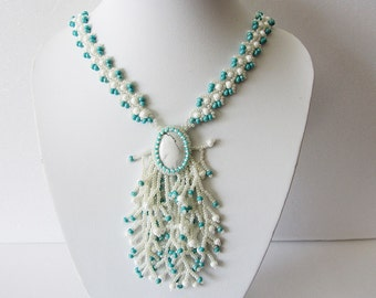 Necklace Marie - Long Handmade Necklace with pendant - Elegant, stylish and very delicate necklace - Bead weaving