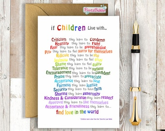 Printable Greeting Card. Children Learn what they live - Instant Download 5x7